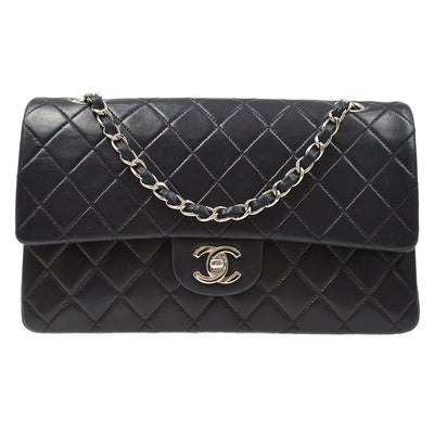 CHANEL Classic Double Flap Medium Shoulder Bag Black Lambskin