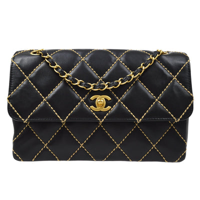 CHANEL Wild Stitch Classic Single Flap Shoulder Bag Black Lambskin