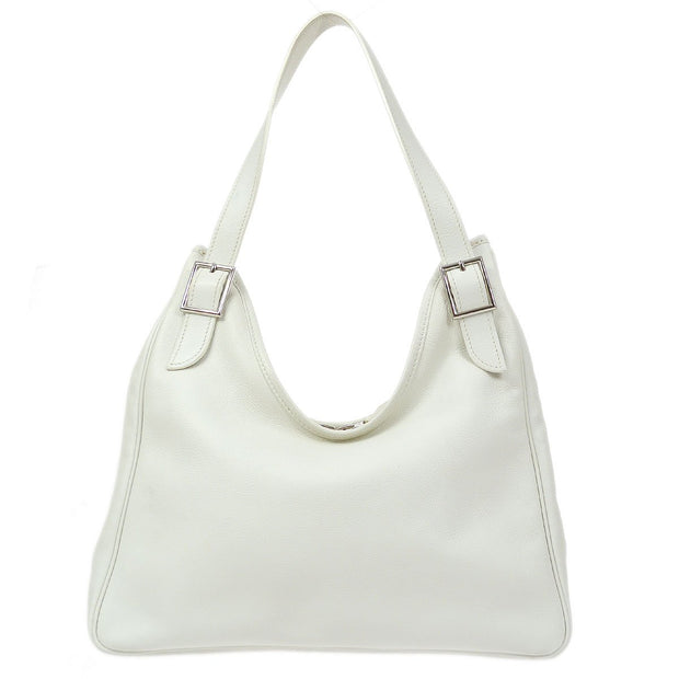 HERMES MASSAI CUT Hand Bag White Ever Grain
