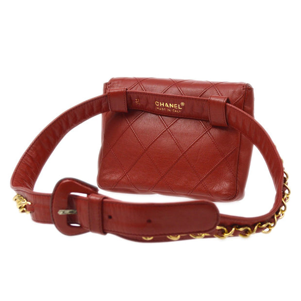 CHANEL Bicolore Bum Belt Bag 75/30 Red Lambskin