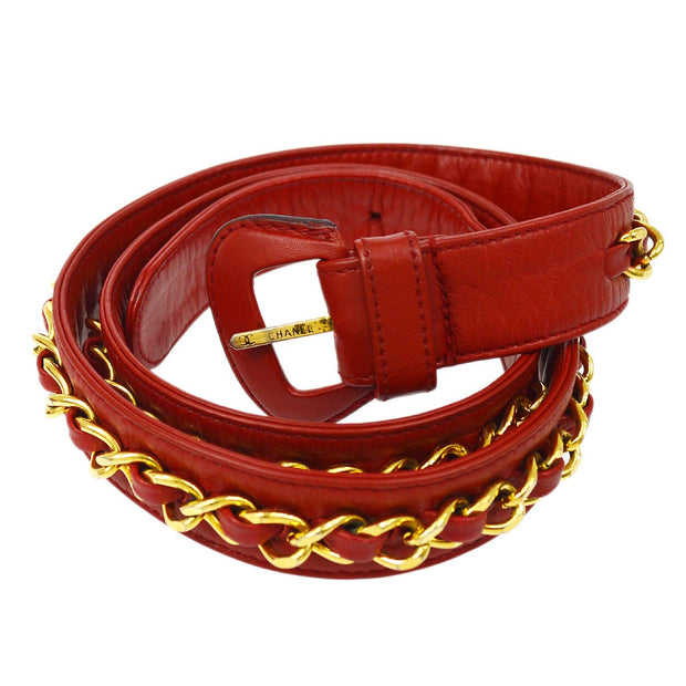 CHANEL Bicolore Bum Belt Bag 80/32 Red Lambskin