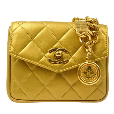 CHANEL Medallion Chain Belt Bum Bag Gold Lambskin