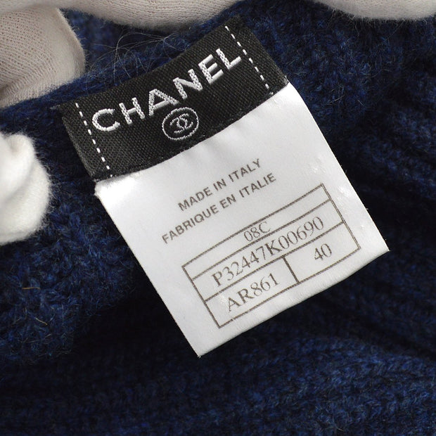CHANEL 08C #40 Sleeveless One Piece Knit Sweater Navy