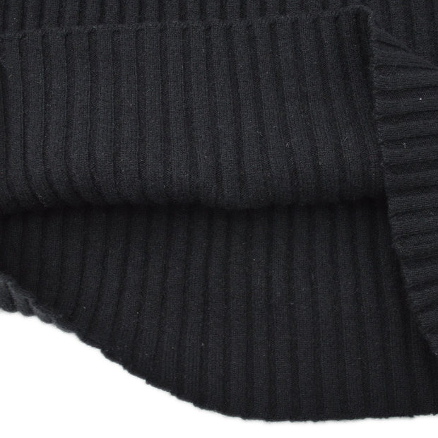 CHANEL 96A #46 Emblem Turtleneck Knit Tops Black