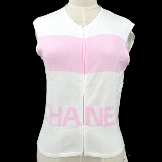 CHANEL #42 Sleeveless Tops White Pink