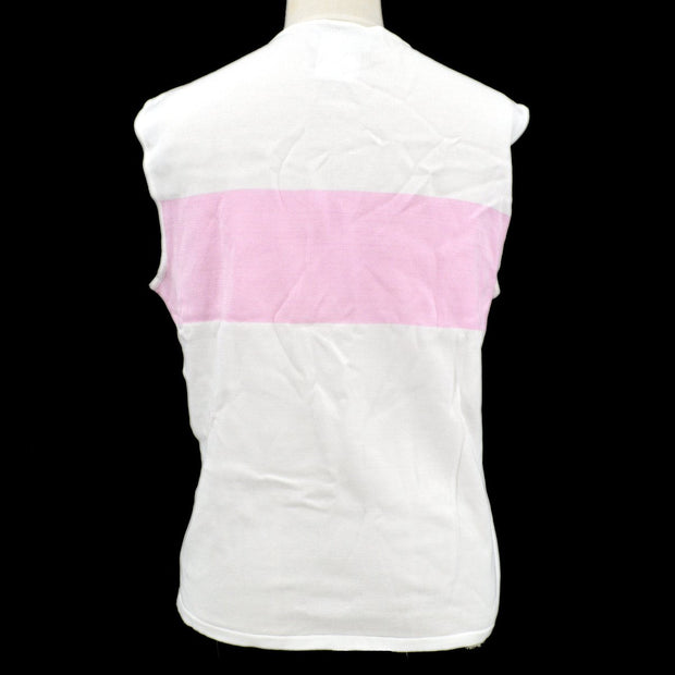 CHANEL 00S #46 Sleeveless Tops White Pink