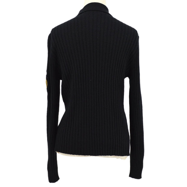 CHANEL 96A #44 Emblem Zip-Up Knit Jacket Black