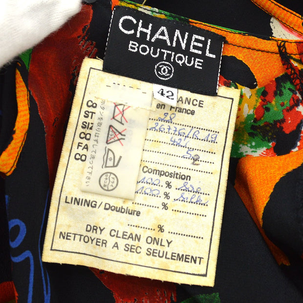 CHANEL 28 #42 Flower Pattern Shirts Black