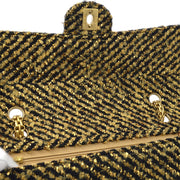 CHANEL Classic Single Flap Medium Shoulder Bag Black Gold Tweed