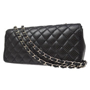 CHANEL East West Shoulder Bag Black Punching Lambskin