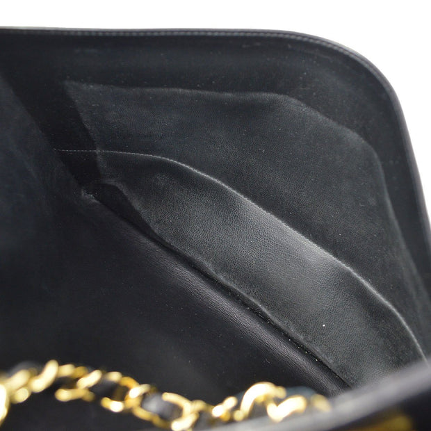 CHANEL Chain Shoulder Tote Bag Black Lambskin