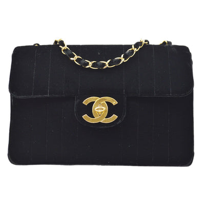 CHANEL Mademoiselle Classic Flap Jumbo Chain Shoulder Bag Black Velvet