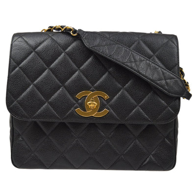 CHANEL Single Chain Shoulder Bag Black Caviar Skin