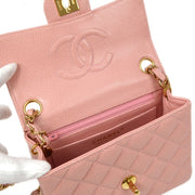 CHANEL Classic Flap Mini Square Chain Shoulder Bag Light Pink Caviar Skin