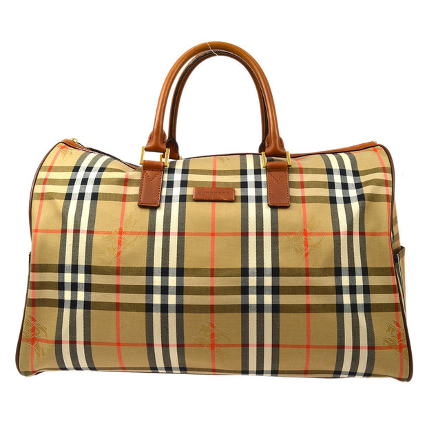 BURBERRY House Check Boston Duffle Hand Bag Beige