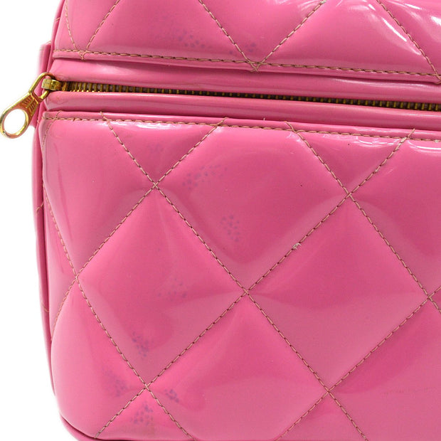 CHANEL Heart Mirror Cosmetic Vanity Hand Bag Pink