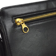 CHANEL Clutch Hand Bag Black Lambskin
