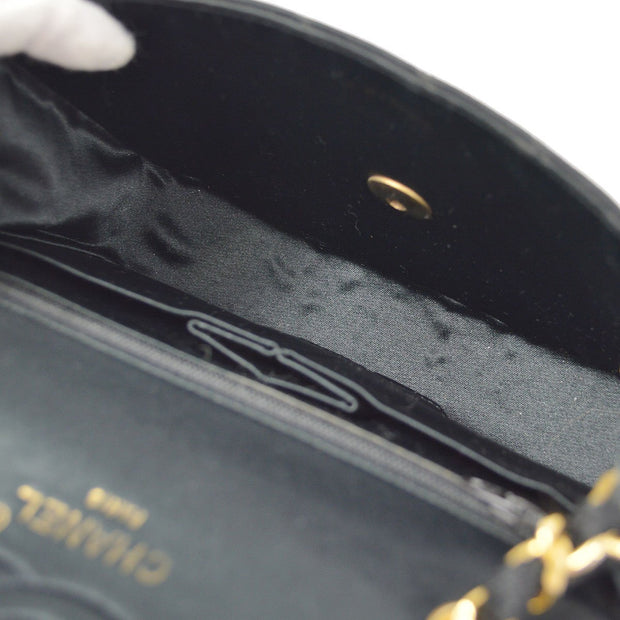 CHANEL Single Chain Shoulder Bag Black Satin