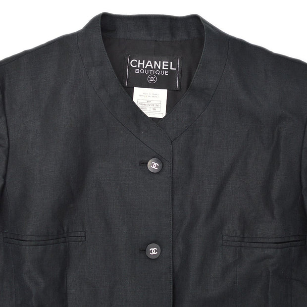 CHANEL 96P #38 Collarless Jacket Black