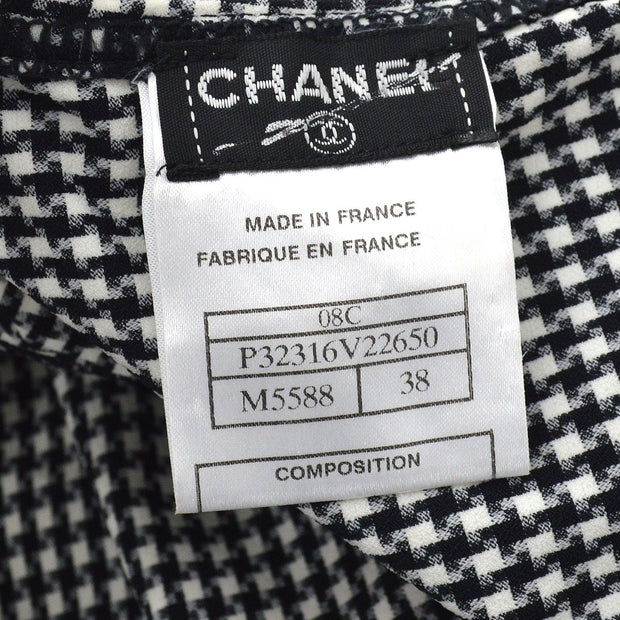 CHANEL 08C #38 Sleeveless Tank Tops Black White