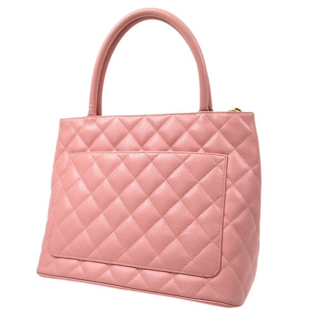 CHANEL Medallion Hand Tote Bag Pink Caviar Skin