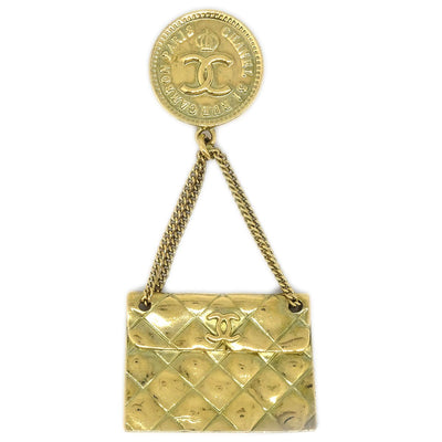 CHANEL Bag Brooch Gold 94A
