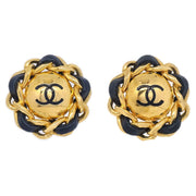 CHANEL Button Earrings Gold Black Clip-On 94P