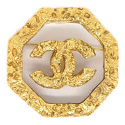 CHANEL Octagon Brooch Gold Clear 93A