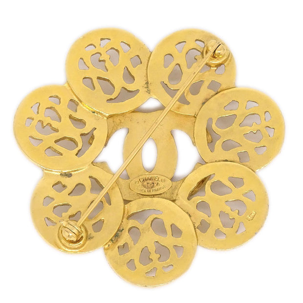 CHANEL Flower Brooch Gold 95A