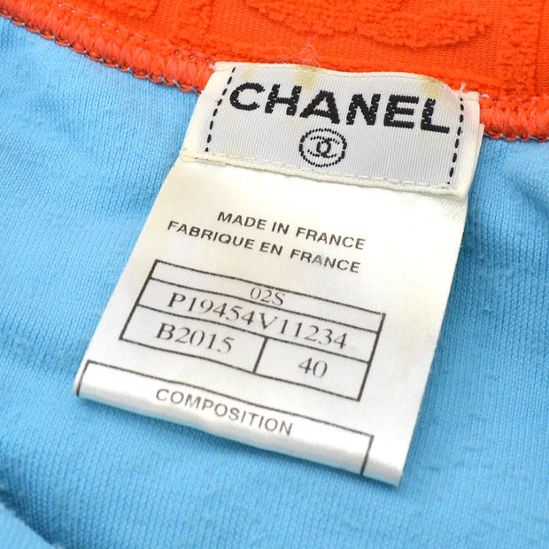CHANEL 02S #40 Zip-up Jacket Light Blue Red