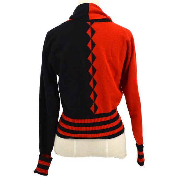 CHANEL Long Sleeve Sweater Knit Black Red