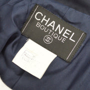 CHANEL 96P #38 Long Coat Belted Navy