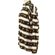 VERSACE Medusa Button Long Sleeve Tops Shirt Black White #S