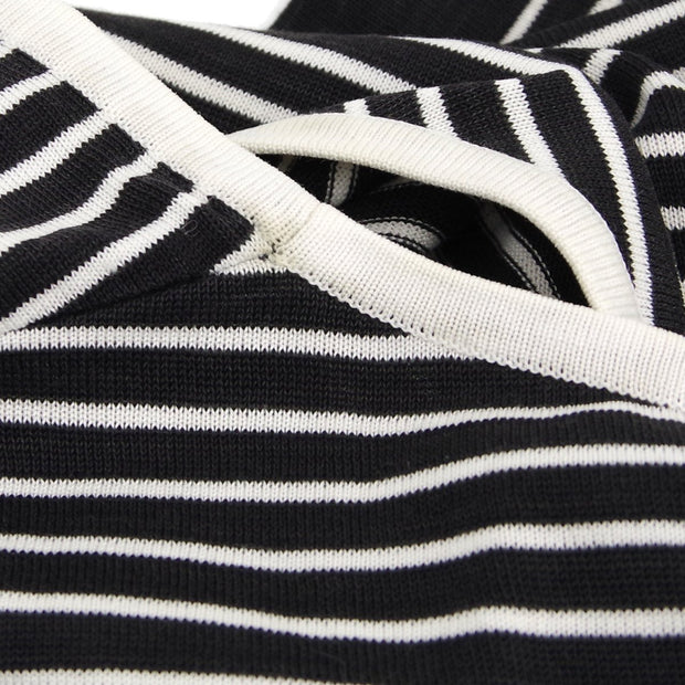 CHANEL #38 Striped Round Neck Knit Tops Black White