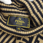 FENDI Zua Pattern Turtle Neck Knit Brown Black #46