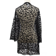 CHANEL 98A #40 All Lace Material Front Opening Long Sleeve Jacket Black