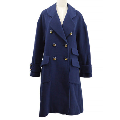 CHANEL #40 Double Breasted Long Coat Navy