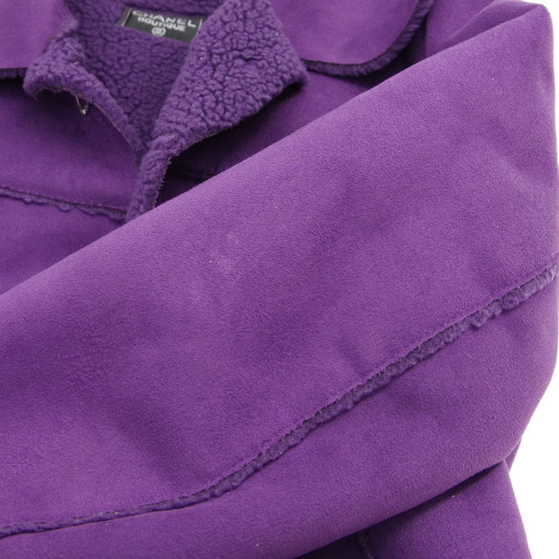 CHANEL Single Breasted Mouton Jacket Purple
