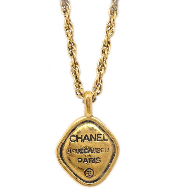 CHANEL Rhombus Charm Gold Chain Pendant Necklace 3384