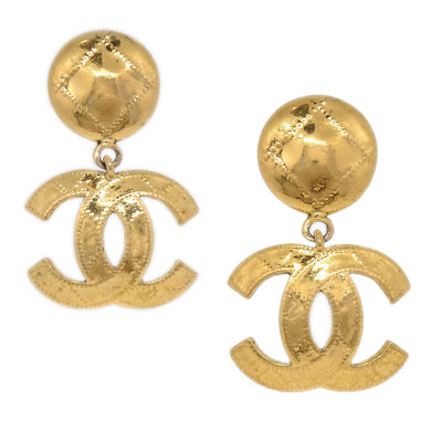 CHANEL Quilted Shaking Earrings Gold 94P