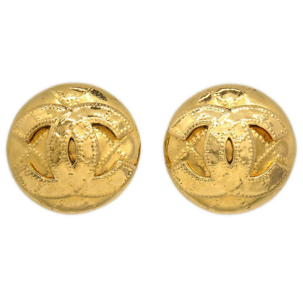 CHANEL Button Earrings Gold 94P