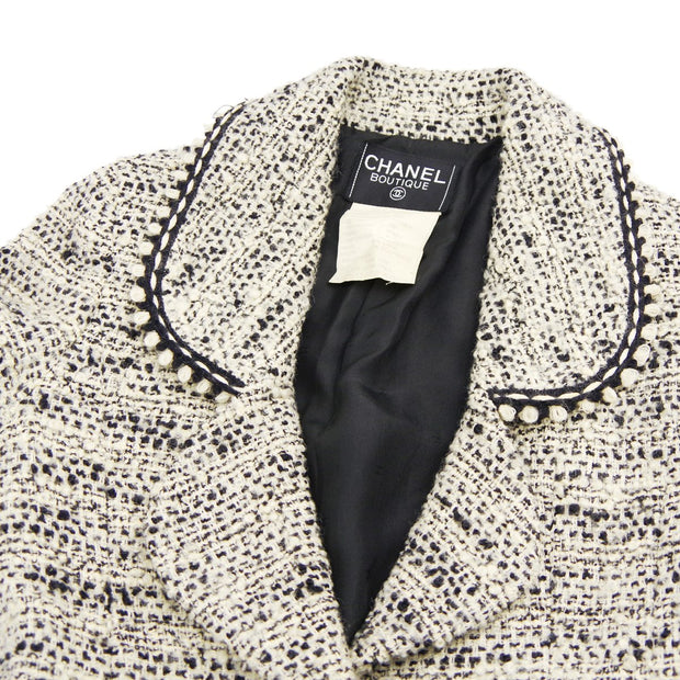 CHANEL 94A #36 Single Breasted Jacket Tweed White