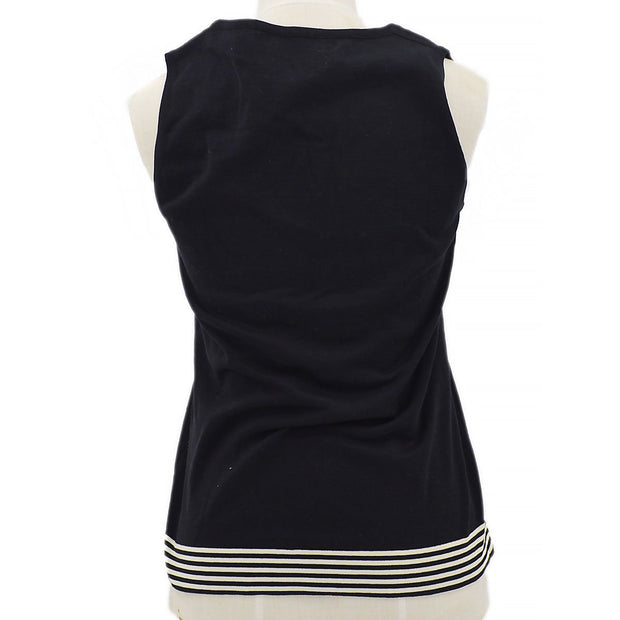 CHANEL 98P #36 Striped Sleeveless Tops Black