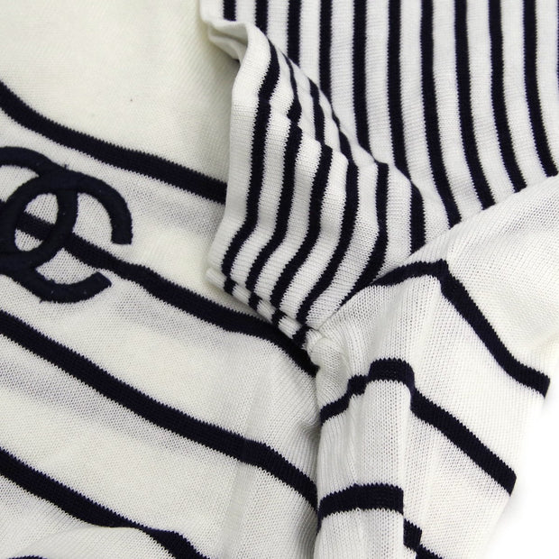 CHANEL #38 Striped Round Neck Short Sleeve Tops White