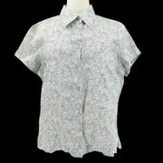CHANEL 99P #44 Front Opening Short Sleeve Shirt Gray