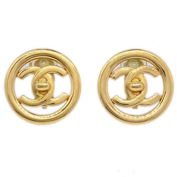 CHANEL Button Turnlock Earrings Gold-Tone Clip-On 97P