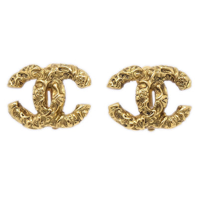 CHANEL Earrings Clip-On Gold-Tone 93A