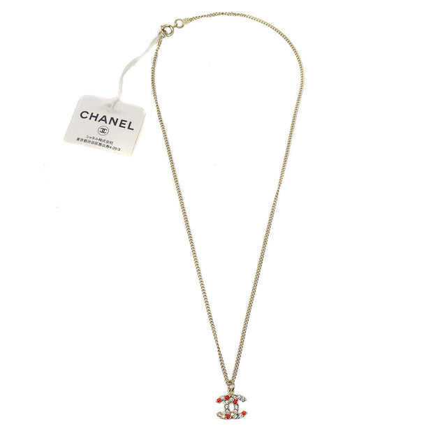 CHANEL Rhinestone Gold Chain Necklace 04A