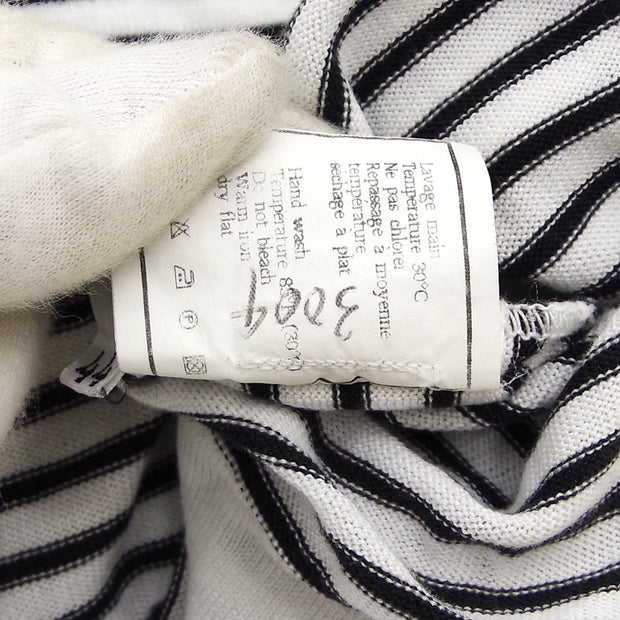 CHANEL #44 Striped Sleeveless Tops White