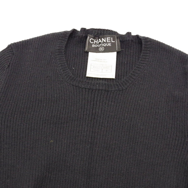 CHANEL 97A #40 Round Neck Short Sleeve Knit Tops Black